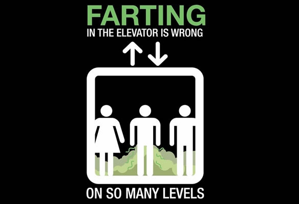 Farting in an elevator