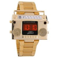 Flud Men's Boombox Gold Retro LED Digital Watch