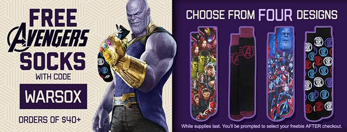 Free Avengers Socks Offer