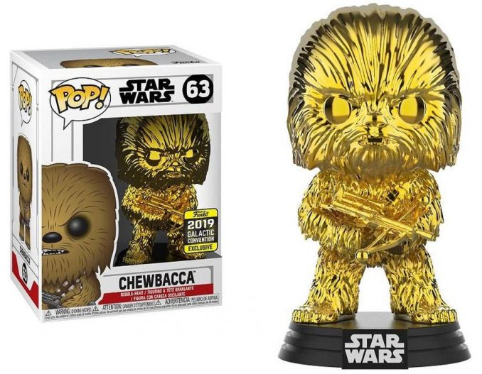 Funko Pop Star Wars Chewbacca Gold Chrome Galactic Convention Exclusive