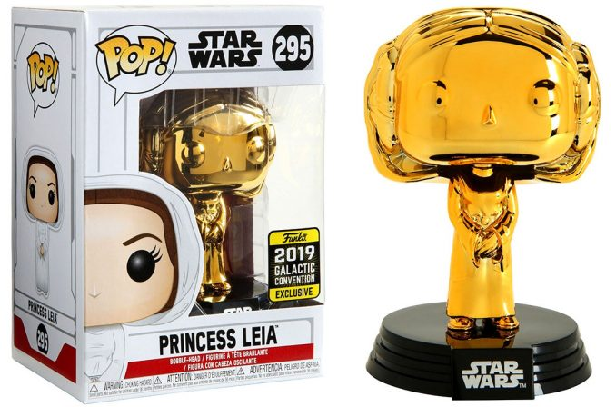 Funko Pop Star Wars Princess Leia Gold Chrome Galactic Convention Exclusive