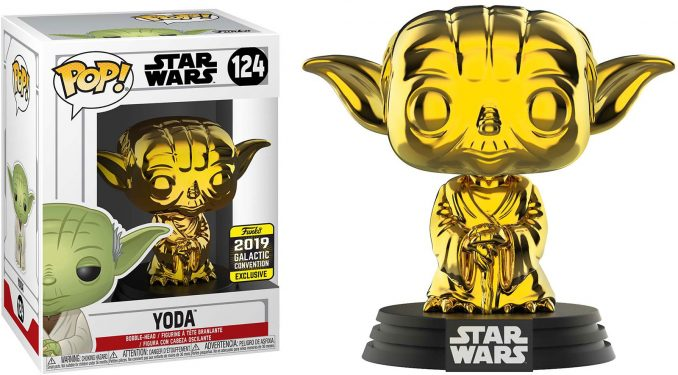 Funko Pop Star Wars Yoda Gold Chrome Galactic Convention Exclusive