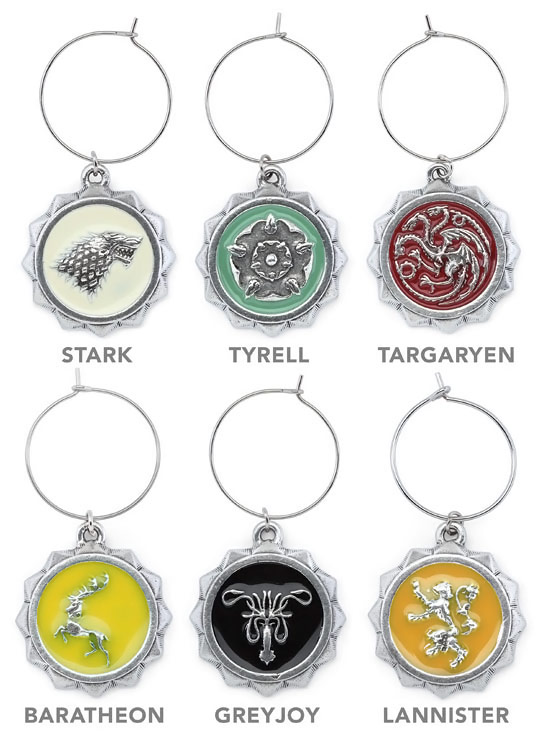 Game of Thrones House Sigil Wine Charm