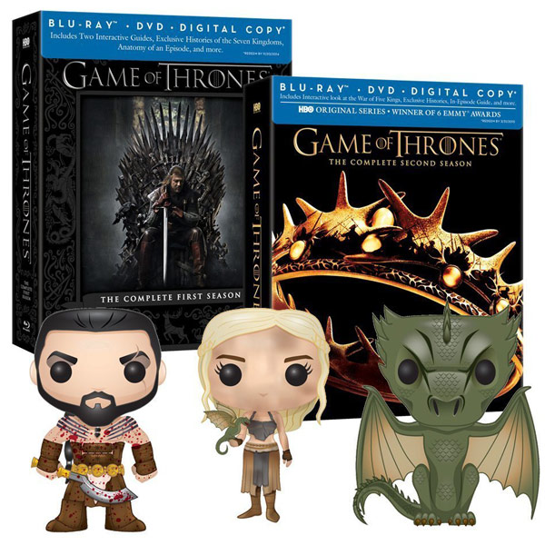Game of Thrones Seasons 1 and 2 Blurays with 3 Exclusive Funko Pop Figures