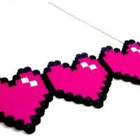 Gamer Hearts 8 Bit Heart Necklace