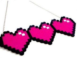 Gamer Hearts 8 Bit Heart Necklace