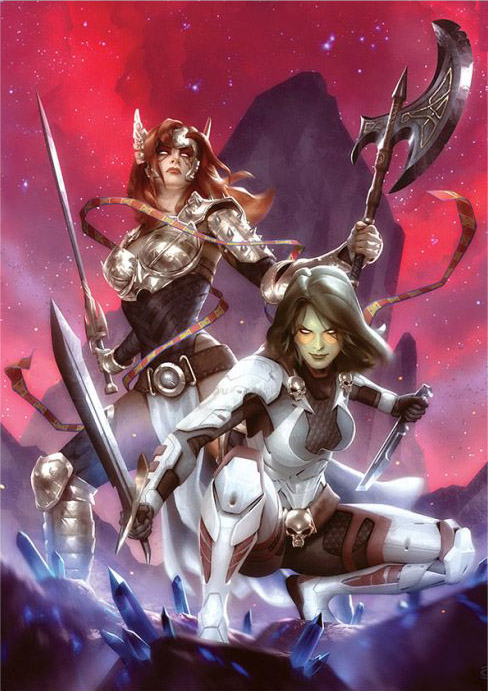 gamora-and-angela-premium-art-print