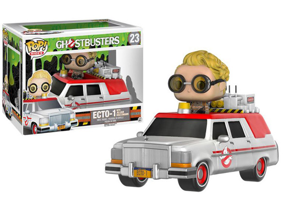 ghostbusters 2016 ecto 1 vehicle with jillian holtzmann figure