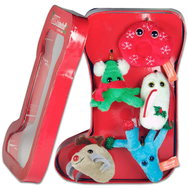 Giant microbes christmas ornament sets