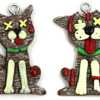 Gingerbread Zombie Cat and Dog Christmas Ornaments