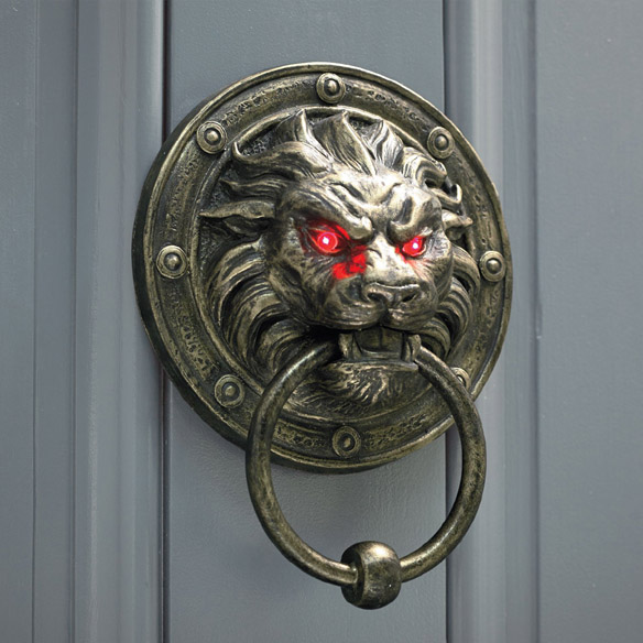 Glowing Eyes Lion Door Knocker