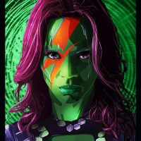 GotG Gamora Space Invader Art Print