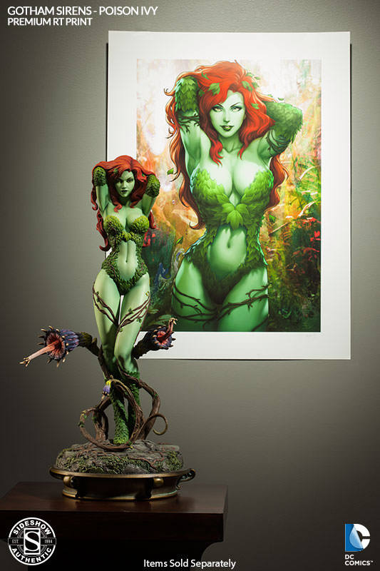 Gotham Sirens Poison Ivy Premium Art Print with Statue