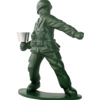 Green Army Guy Candle Holder