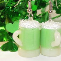 Green Beer Mug Dangle Earrings