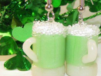 Green Beer Mug Dangle Earrings