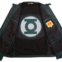 Green Lantern Symbol Seam Vegan Leather Jacket