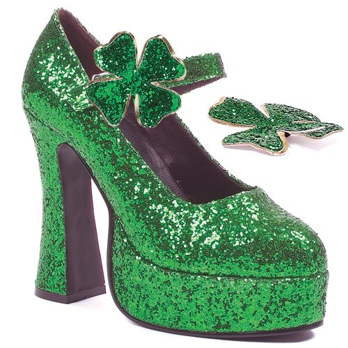 Green Sparkle Sexy St. Patty's Day platform shoes