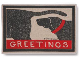 Greetings Dog Sniffing Doormat