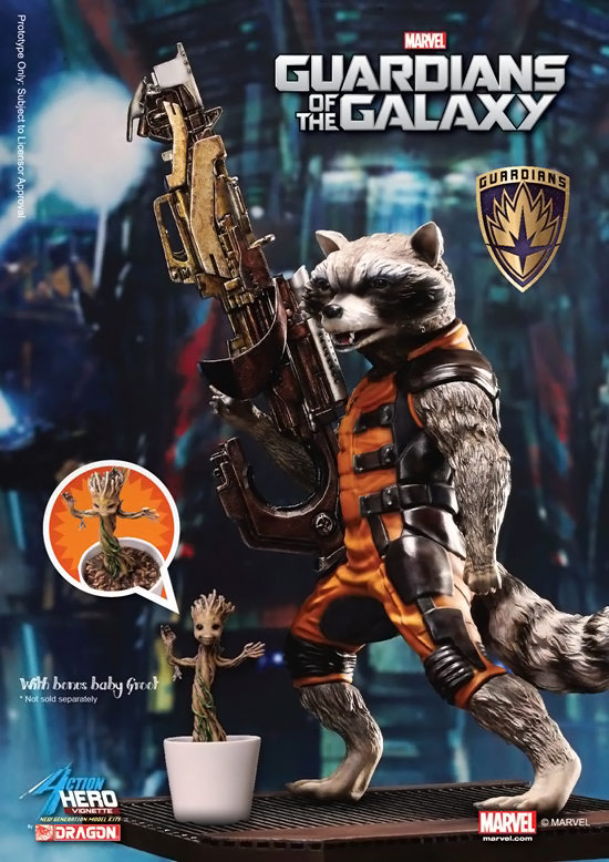Guardians of the Galaxy Rocket Raccoon with Baby Groot Action Hero Vignette 1:9 Scale Pre-Assembled Model Kit
