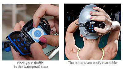 H2O Waterproof iPod Shuffle Swim Case and Headphones