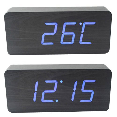 HITO Wood Grain LED Alarm Clock