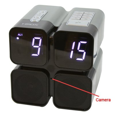 hmdx quad alarm clock radio sd card hidden camera. Black Bedroom Furniture Sets. Home Design Ideas