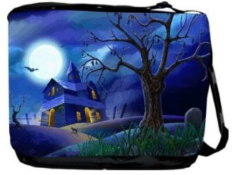 Halloween Haunted House Blue Messenger Bag