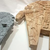 Hand Carved Star Wars Millennium Falcon