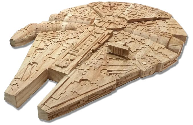 Hand Carved Wood Star Wars Millennium Falcon