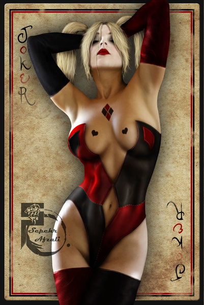 Harley Quinn Joker Card Art Print