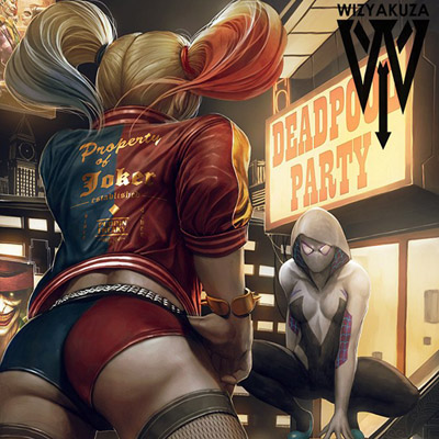Harley Quinn Spider-Gwen Showdown Art Print - Gadget Lovers
