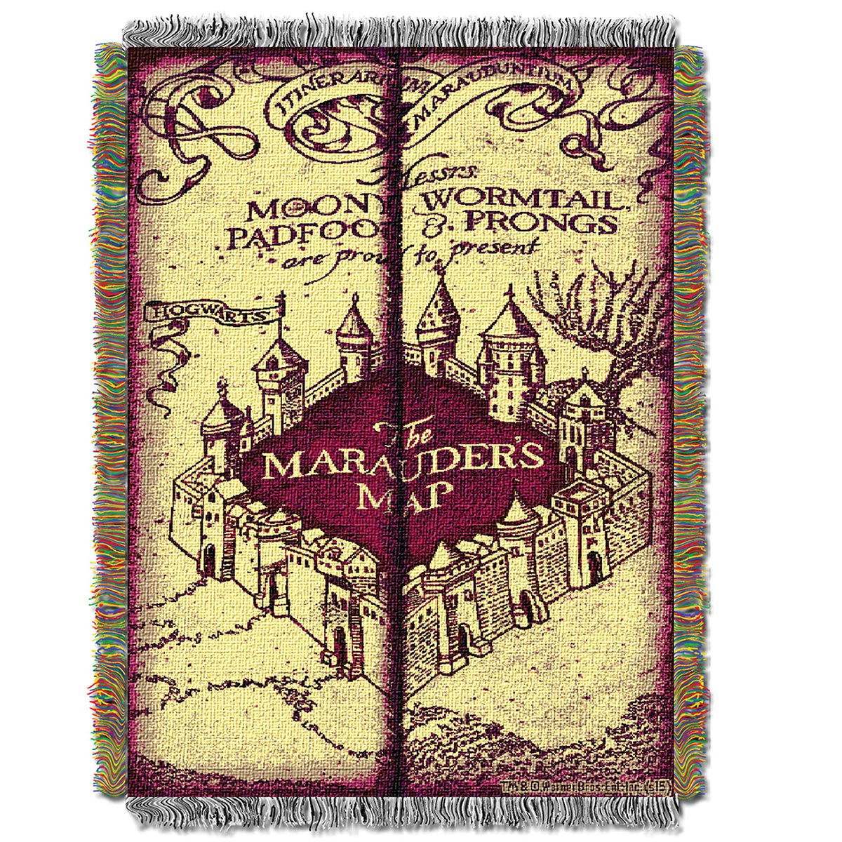 harry potter marauder 39 s map woven tapestry throw blanket. Black Bedroom Furniture Sets. Home Design Ideas