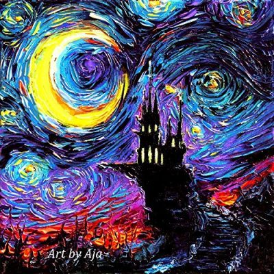 Haunted Castle Starry Night Mash-Up Print