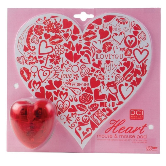 Heart Mouse Pad and Optical Mouse Set