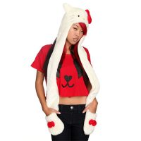 Hello Kitty Furry Hat with Gloves and Scarf