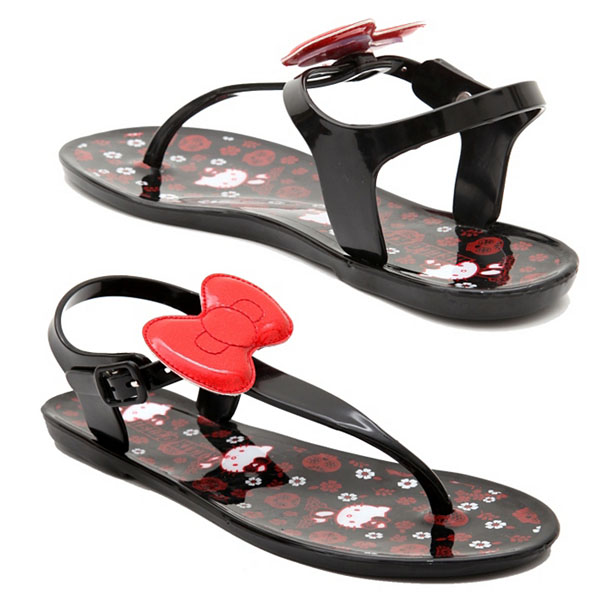 Hello Kitty Glitter Bow Jelly Sandals