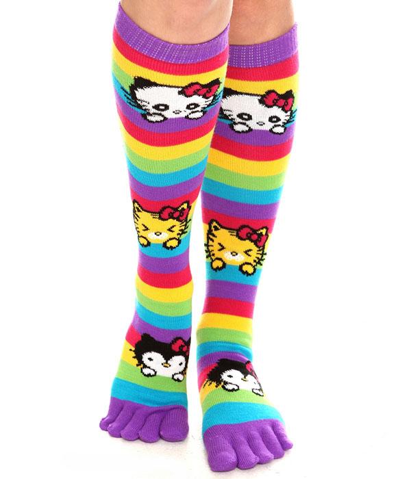 Hello Kitty Rainbow Striped Toe Socks