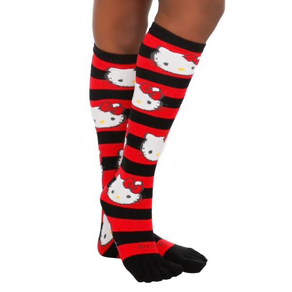 Hello Kitty Red and Black Striped Toe Socks