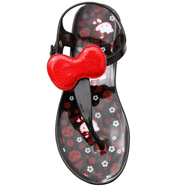 Hello Kitty Glitter Bow Jelly Sandals e64ba0919a427