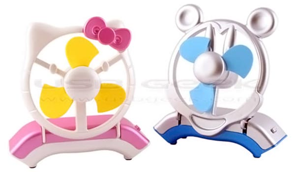 Hello Kitty and Mickey Mouse USB Fans
