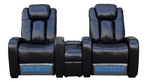 Home Theater Leather Power Recliners with Massage and Cupholders