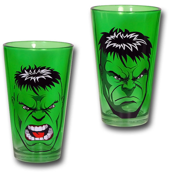 Hulk Expressions Green Pint Glasses