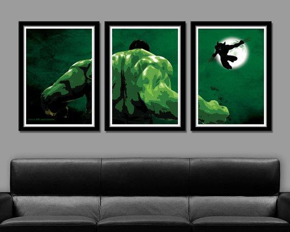 Hulk VS Wolverine Minimalist Movie Poster Set