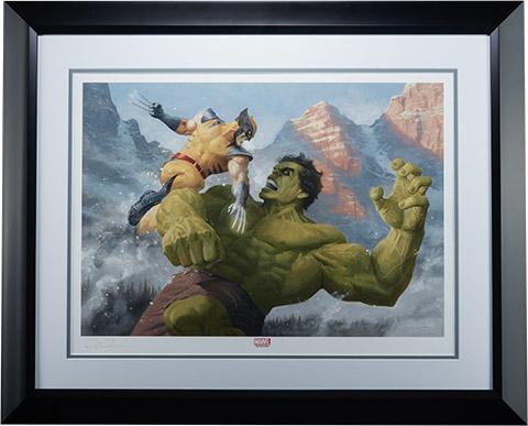 Hulk vs Wolverine Premium Art Print - framed
