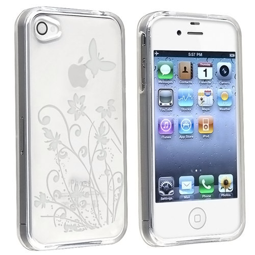 INSTEN Clear Flower with Butterfly TPU Rubber Skin Case