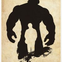 Incredible Hulk Superhero Silhouette Poster