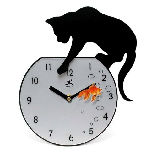 Cat and fishbowl metal clock - Kitty cat clock ...