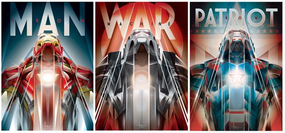 Iron Man Foil Triptych Art Print