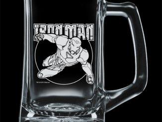 Iron Man Premium Etched Glass Stein